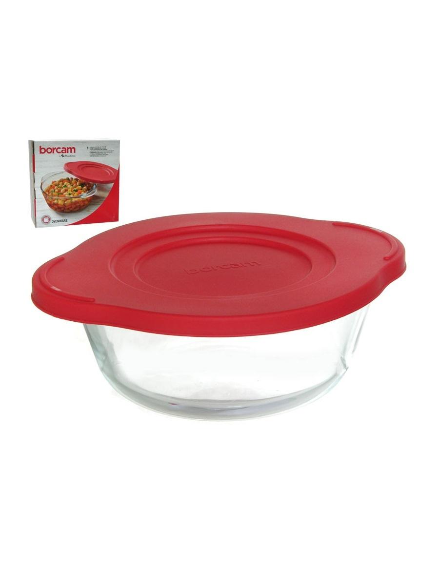 Кастрюля жаропрочная стеклянная 0,84 литра круглая с пластиковой крышкой Borcam 59133 круглая форма с #2