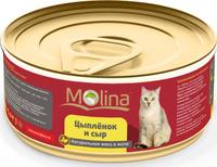 Консервы для кошек Molina Цыпленок с сыром в желе, 80 г