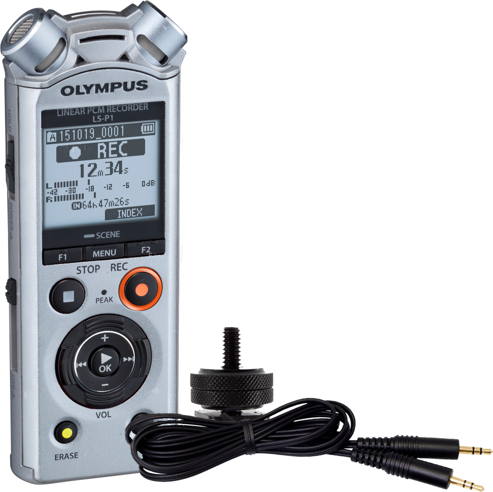 лучшая цена Диктофон Olympus LS-P1 Video Kit, серебристый