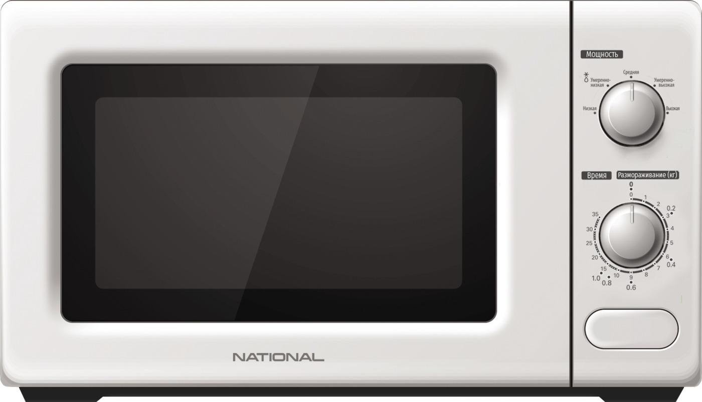 Микроволновая печь NATIONAL 20л, 700Вт, с механическим управлением, 5 уровней мощности, белый