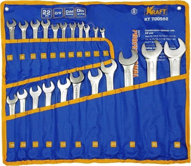 Набор гаечных ключей KRAFT КТ 700592 ключ комбинированный kraft 16 мм кт 700510