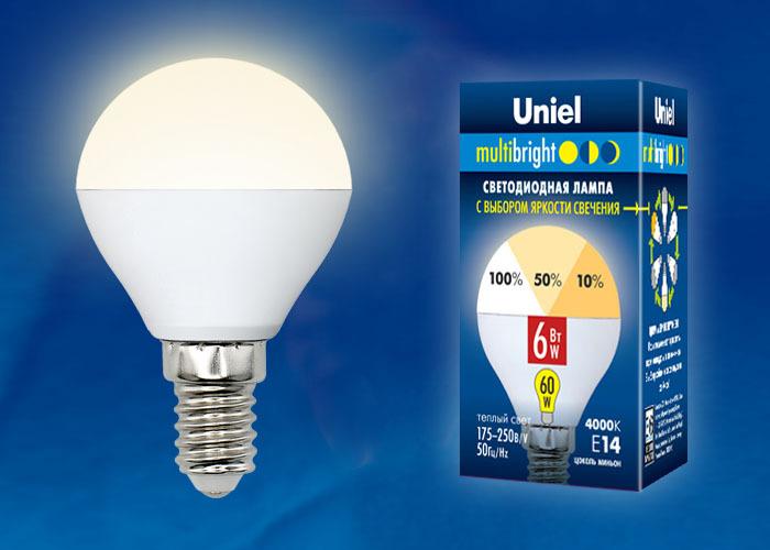 Уцененный товар Лампочка Uniel LED-G45-6W/WW/E14/FR/MB, Теплый свет 6 Вт, Светодиодная