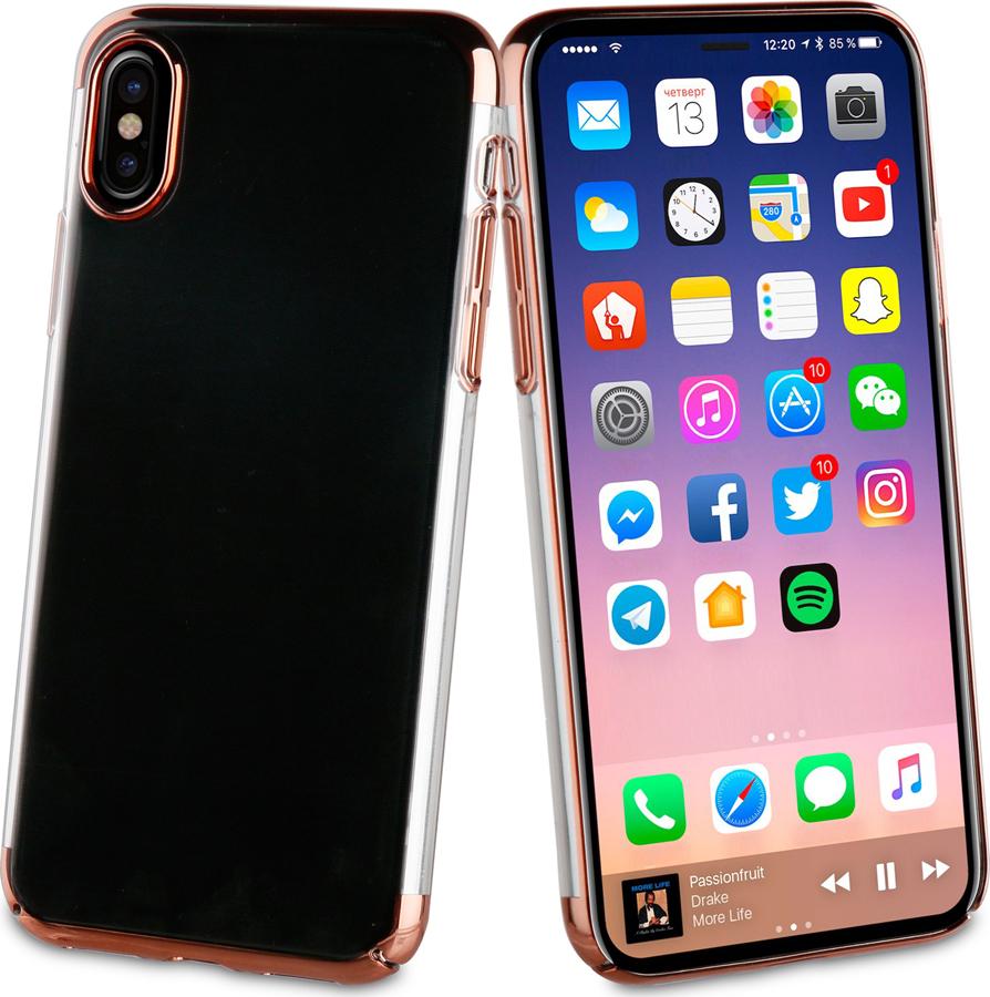 Чехол-накладка Muvit CRYSTAL CASE для Apple iPhone X/XS, прозрачный, кант розовое золото все цены
