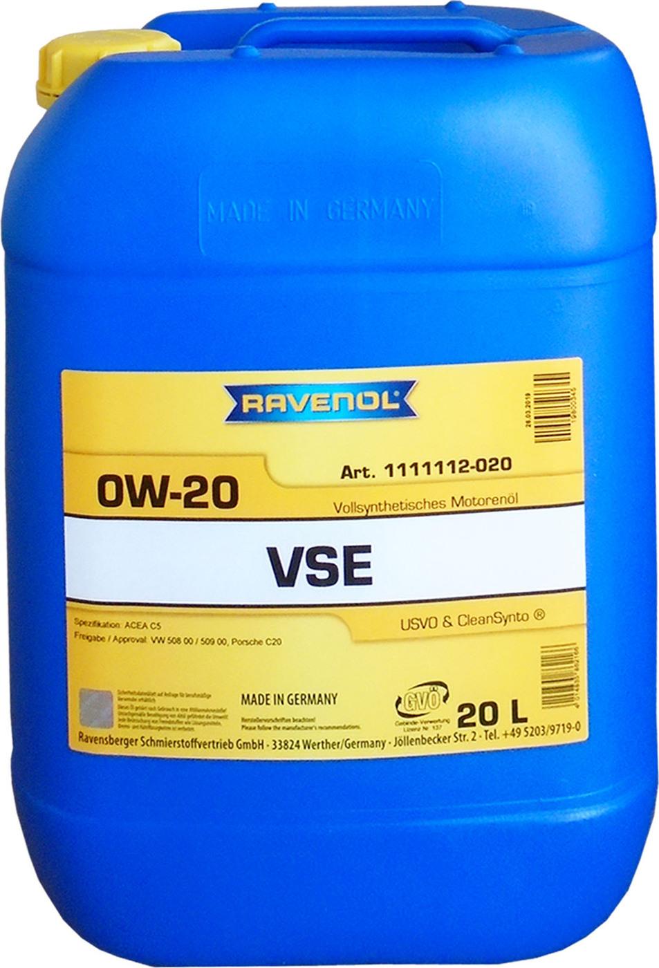 Моторное масло RAVENOL VSE SAE 0W-20 (20л)