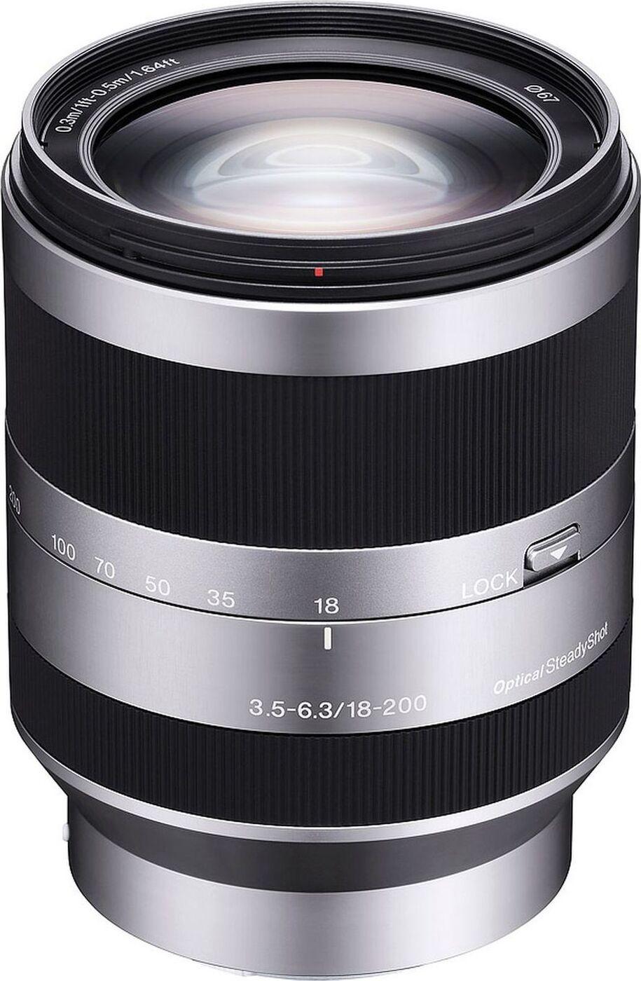 Объектив Sony E 18-200mm F3.5-6.3 OSS, черный, серебристый