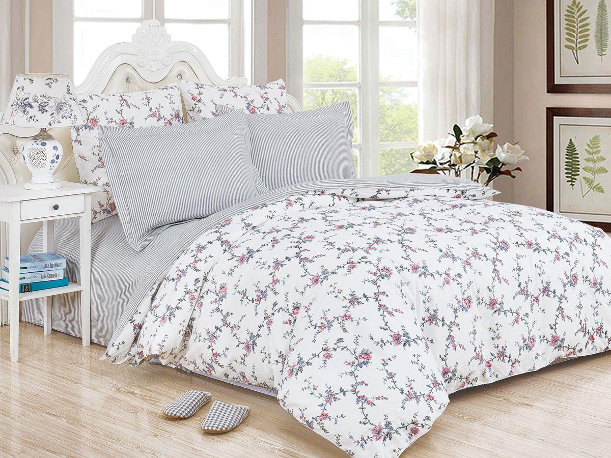 Комплект постельного белья Cleo Satin de' Luxe Аморет, 20/522-SK, белый, серый, 2-спальный, наволочки 70x70