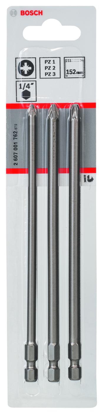 Набор расходников (биты 152 мм; 3 шт) PZ1/2/3 XH SET Bosch 2607001762