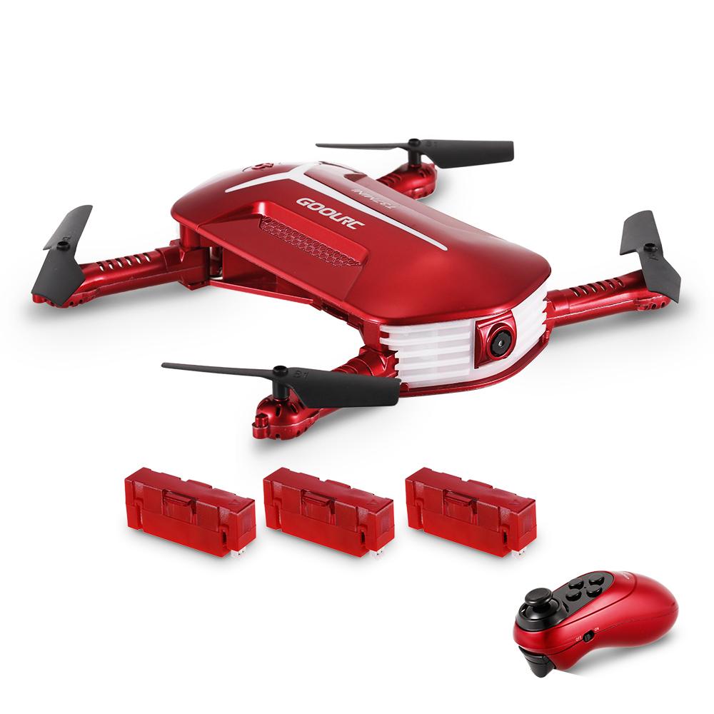 GoolRC T37 Mini 2.4G 6-Axis Gyro WIFI FPV 720P HD Camera Quadcopter Foldable G-sensor RC Selfie Pocket Drone Two Extra Battery