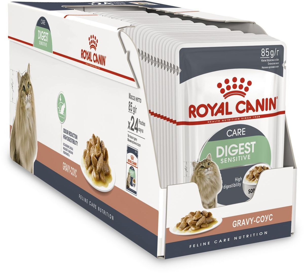 Корм консервированный Royal Canin Digest Sensitive, для кошек с чувствительным пищеварением, соус, 24 шт по 85 г