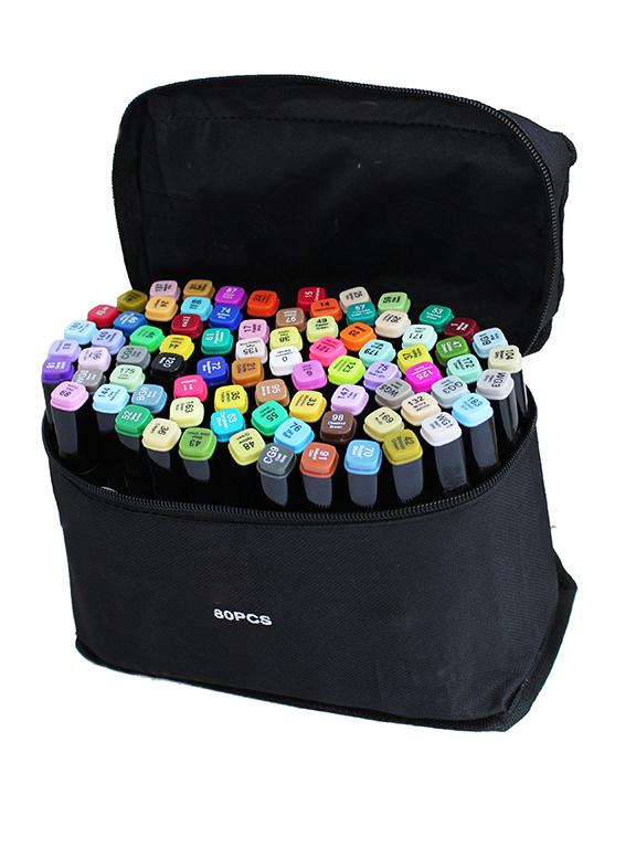 Набор профессиональных двухсторонних маркеров для скетчинга в чехле (80 цветов)
