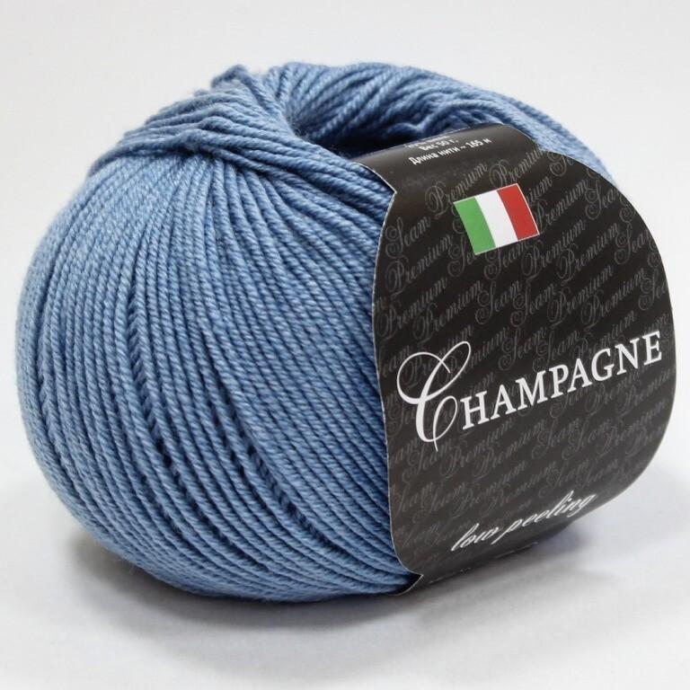 Пряжа Champagne (Шампань) Seam цвет 231 светлый джинс, 2шт*(165м/50г), 75% экстра мериносовая шерсть 25% шелк