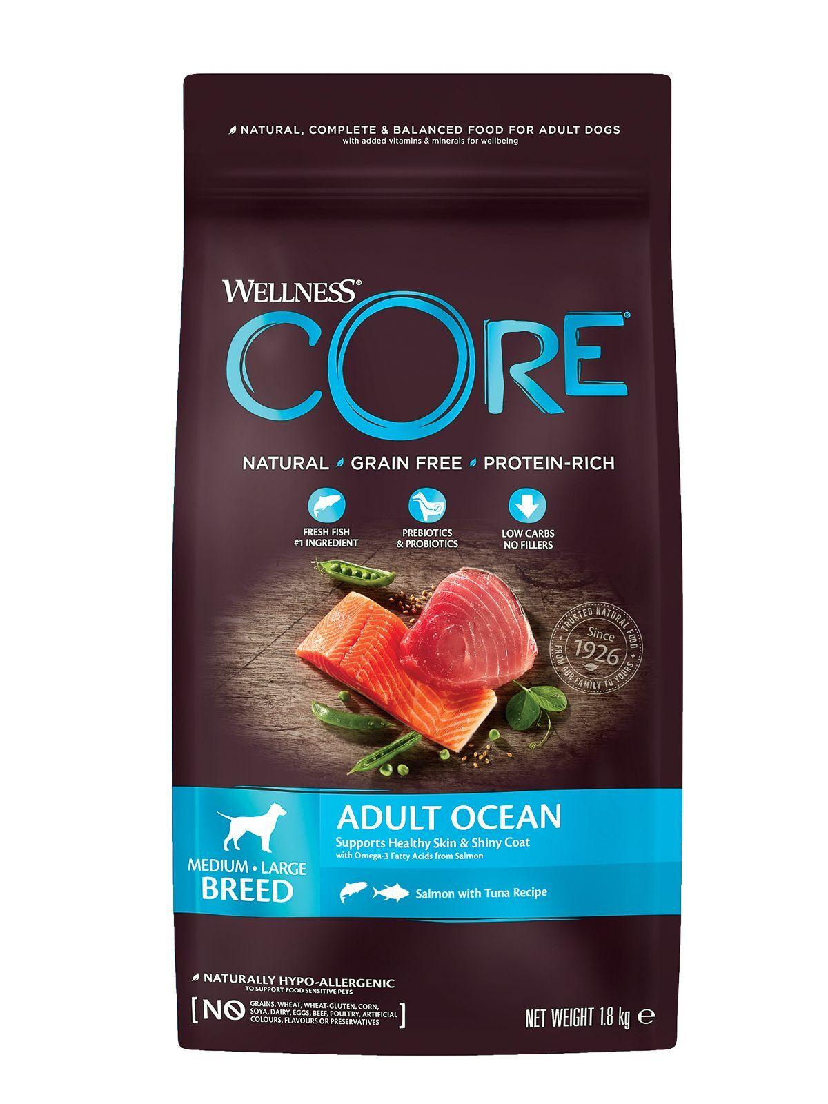 Wellness CORE Корм из лосося с тунцом для взрослых собак средних и крупных пород, 1,8 кг