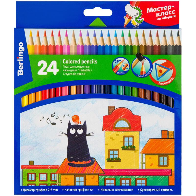 """Карандаши цветные Berlingo """"Жил-был кот"""", 24 цвета, (279650) #1"""