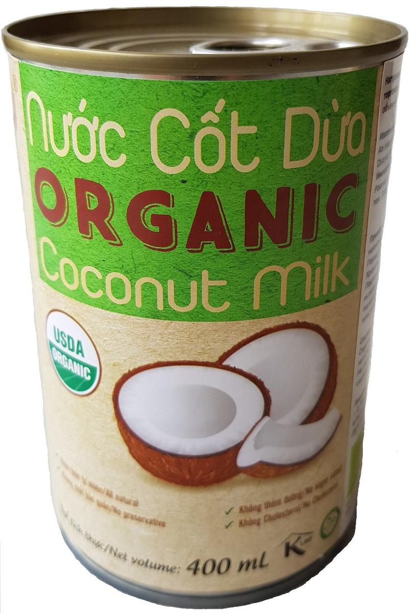Кокосовое молоко органическое VietCOCO 73% без сахара растительное в жестяной банке 400 мл  #1