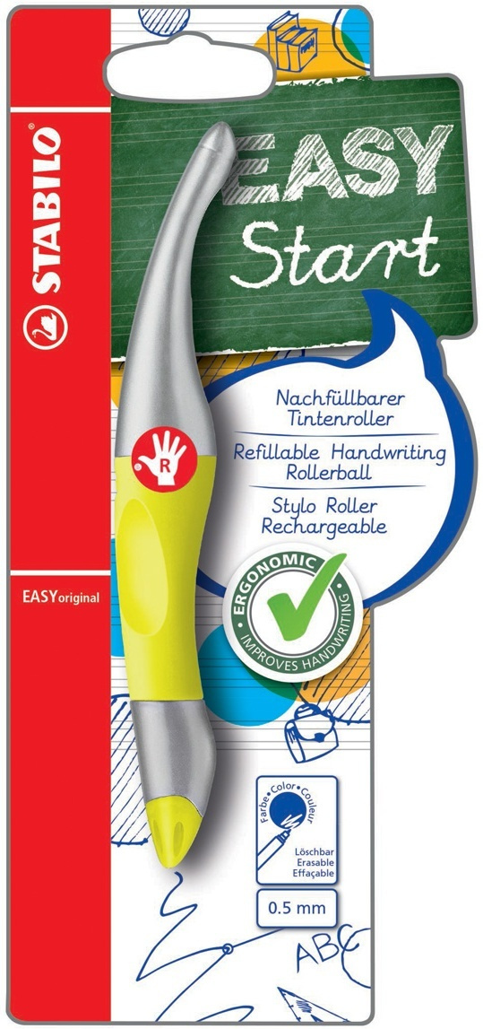 Ручка-роллер STABILO EASYoriginal Metallic, для правшей, цвет чернил синий, цвет корпуса желтый металлик #1