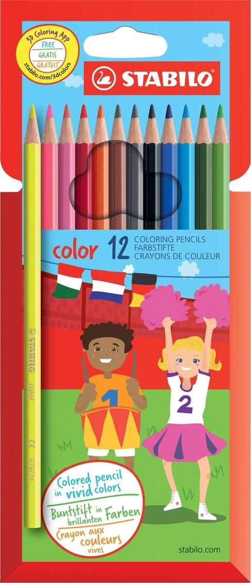 Карандаши цветные STABILO Color, 12 цветов, 10 базовых + 2 флуоресцентных  #1