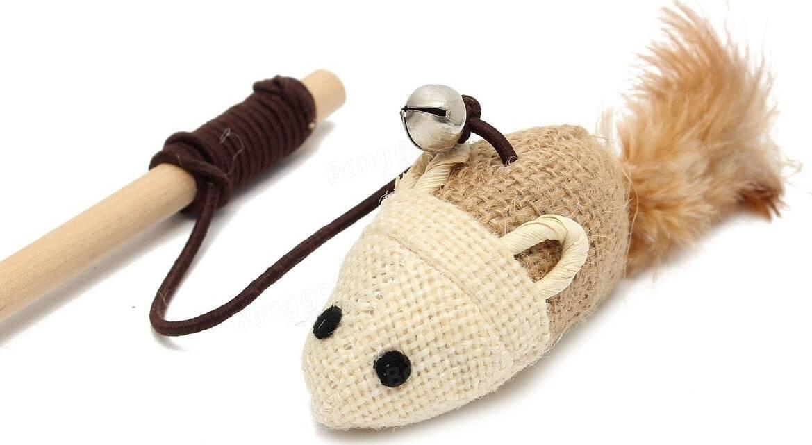 """Игрушка дразнилка для кошки """"Мышь"""", с колокольчиком, эко материалы (дерево, сизаль)  #1"""