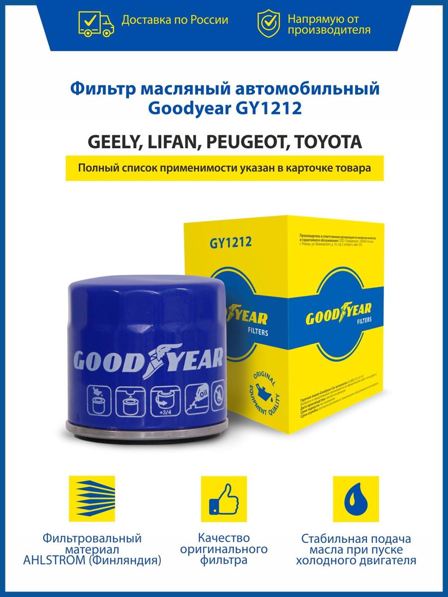 Фильтр масляный Goodyear GY1212 GEELY CK EMGRAND EC7 GC6 MK, LIFAN, PEUGEOT 107 108, TOYOTA AURIS AVENSIS #1