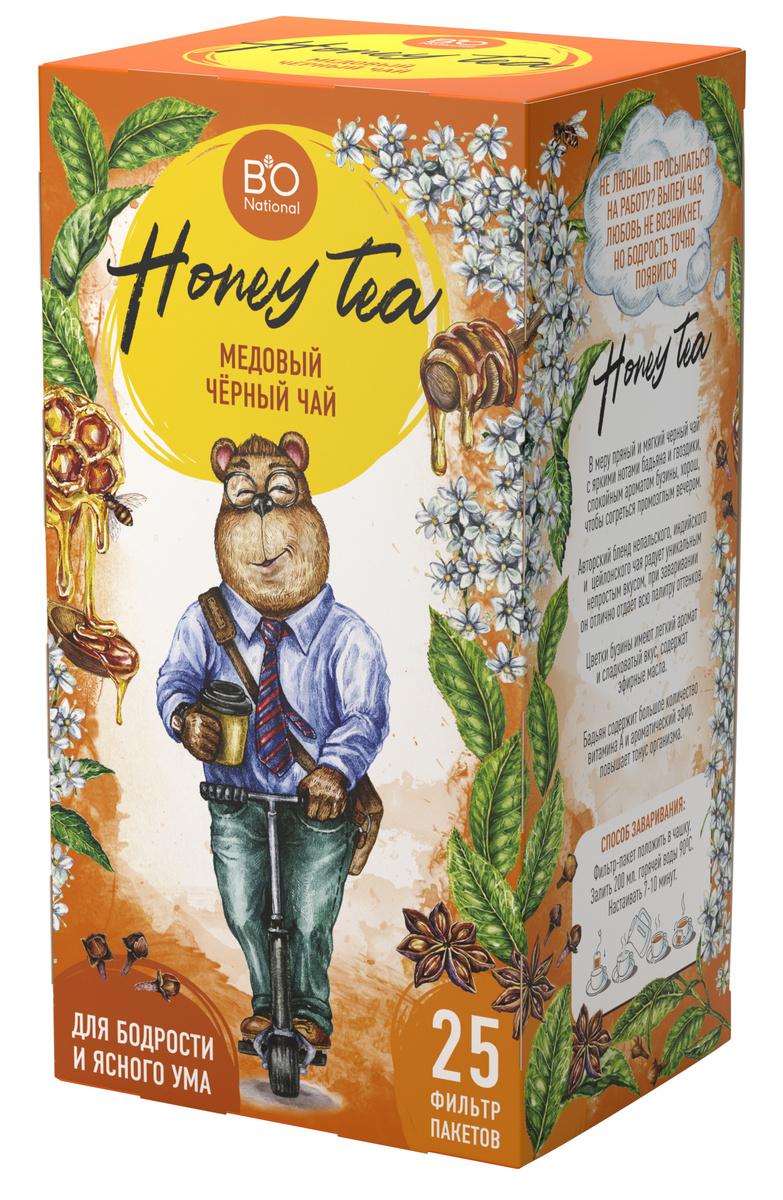 Чай Медовый черный BiO National ( Чёрный чай ,цветы бузины,бадьян, гвоздика, мед) в пакетиках 25 штук. #1