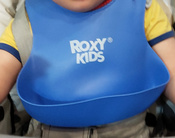 Слюнявчик детский, нагрудник для кормления ROXY-KIDS мягкий с кармашком и застежкой, цвет синий #4, Лолла К.