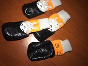 Прорезиненные теплые носки для собак Грызлик Ам, Цвет Серый с оранжевым, Размер S (A-32мм, B-39мм, C-25мм, D-80мм) #15, Татьяна И.