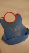 Слюнявчик детский, нагрудник для кормления ROXY-KIDS мягкий с кармашком и застежкой, цвет синий #2, Nikita S.