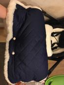 Муфта для коляски для рук на ручку коляски меховая на кнопках Melanie от ROXY-KIDS, цвет синий #3, Алена В.