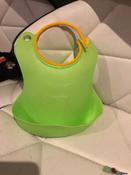 Слюнявчик детский, нагрудник для кормления ROXY-KIDS мягкий с кармашком и застежкой, цвет зеленый #8, Дарья Р.