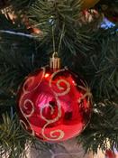 Елочные шары-игрушки/новогоднее украшение, набор из 6шт, 8см, пластик, с узором, красные, глянец, Золотая Сказка #9, Екатерина К.