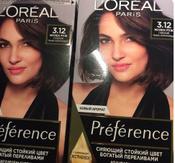 """L'Oreal Paris Стойкая краска для волос """"Preference"""", с комплексом Экстраблеск, оттенок 3.12, Мулен Руж #13, Аля"""