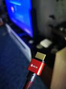 Короткий кабель HDMI 2.0 GCR для PS4 Xbox One Apple TV Smart TV 50см 4K 60Hz UHD 24К GOLD красный нейлон провод HDMI #8, Сергей Р.