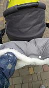 Муфта для коляски для рук на ручку коляски меховая на кнопках Melanie от ROXY-KIDS, цвет серый #1, Любовь