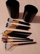 Набор кистей для макияжа черный12 шт + футляр подставка #14, Наталья К.