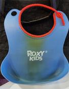 Слюнявчик детский, нагрудник для кормления ROXY-KIDS мягкий с кармашком и застежкой, цвет синий #3, Лолла К.